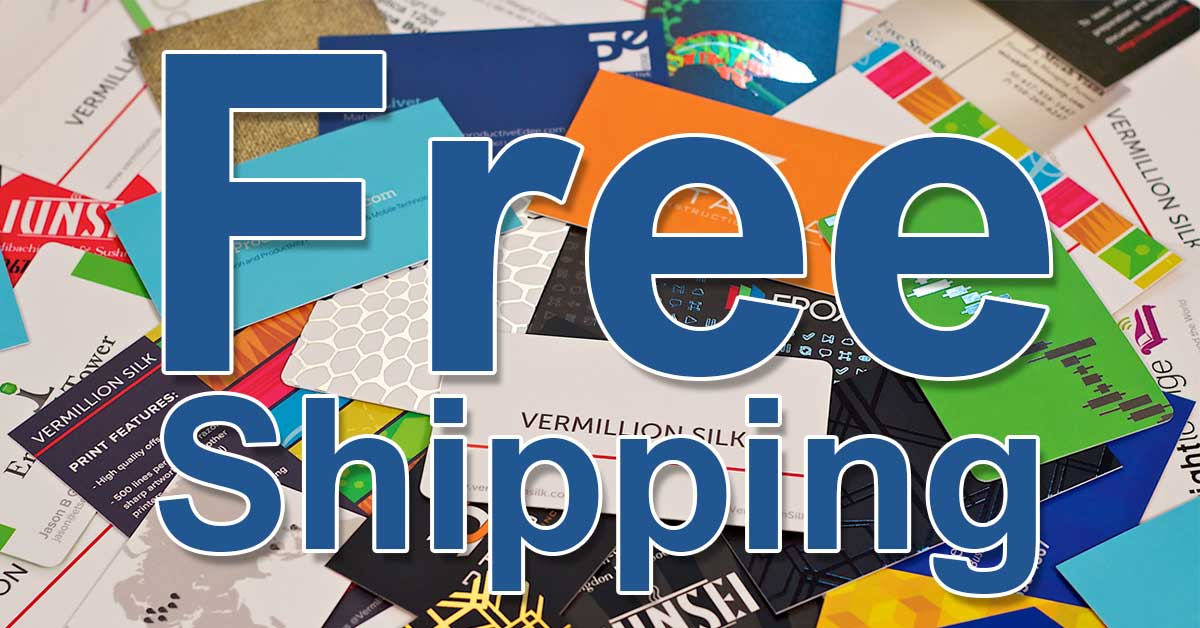 Frees shipping on select quantities of standard business cards